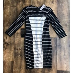 Bebe Black & White Combo Striped Dress Size S